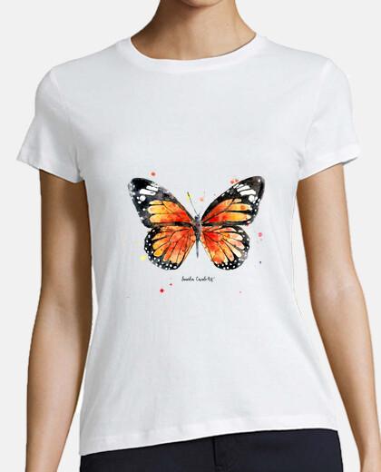 femmes, manches courtes, blanc, papillon