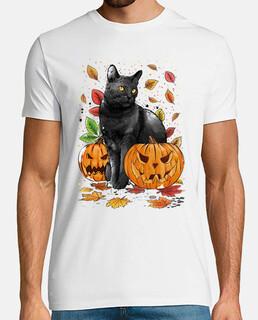 Halloween Sorcière Chat Citrouille Femme T-shirt XS-3XL