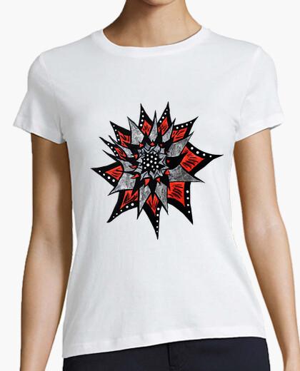 T-shirt fiore rosso inchiostro nero astratto