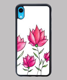 fiori rosa acquerello botanico floreale