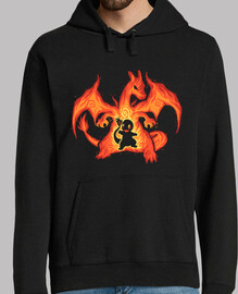 fire dragon within - mens hoodie
