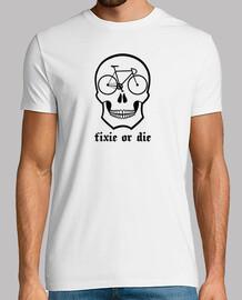 fixie or die skull white