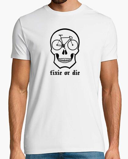 Tee-shirt Fixie ou meurt tête de mort  blanc