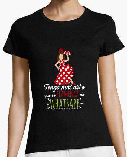 Camiseta Flamenca Whatsapp Mujer, manga corta, negra, calidad premium