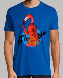 Flamingo Lady - Hombre, manga corta, rosa, calidad extra