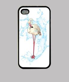 flamingo posant avec jet d'eau