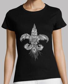 fleur-de-lis of feathers. fleur de lis feathers. woman t-shirt