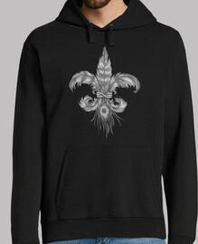 fleur-de-lis of feathers. man, hooded sweater, black