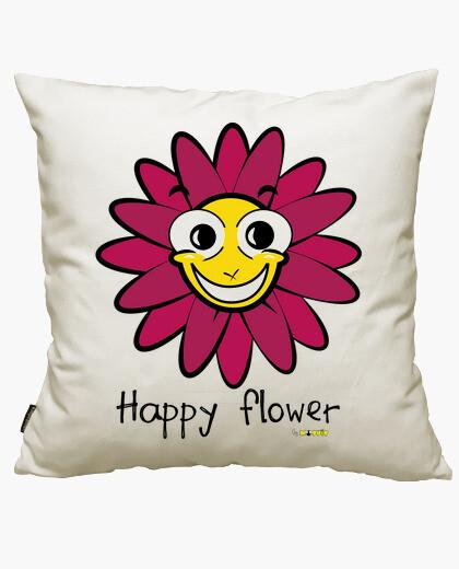 Housse de coussin fleur heureuse