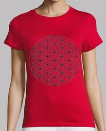 Flor de la vida Mujer, manga corta, roja, calidad premium