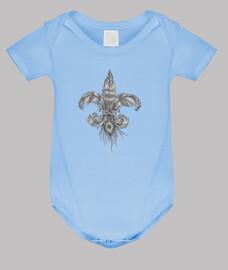 Flor de lis de plumas. Body bebé, azul cielo