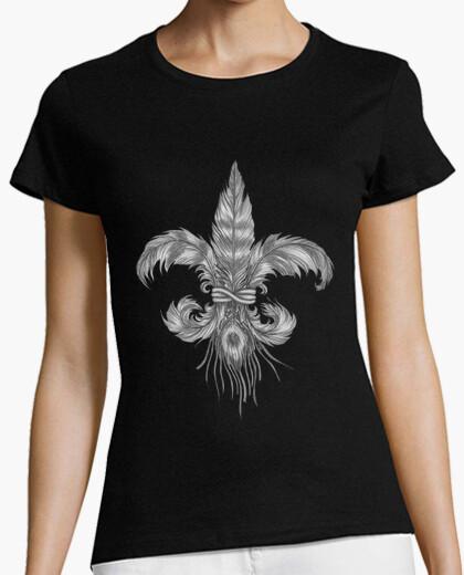 Flor de lis de plumas. Flor de lis plumas. Camiseta mujer