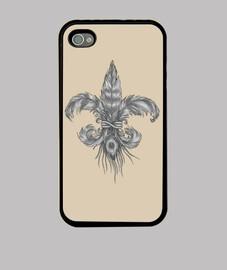 Flor de lis de plumas. Funda iPhone 4, negra