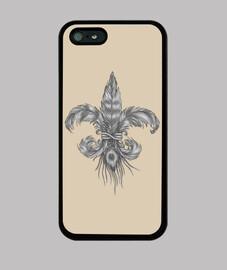 Flor de Lis de PLumas. Funda iPhone 5 / 5s, negra