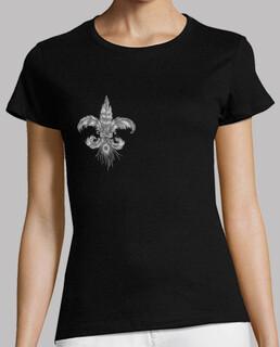 Flor de lis de plumas, pecho. Mujer, manga corta, negra, calidad premium