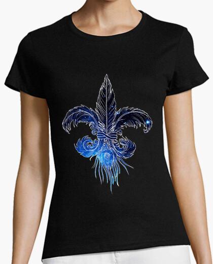Camiseta flor de lis plumas galaxia