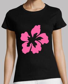 Flor Rosa Camiseta Corte Regular