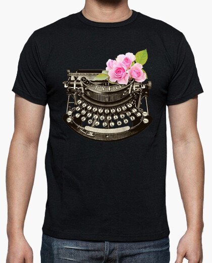 Floral Typewriter Men's T-shirt, Many Colours