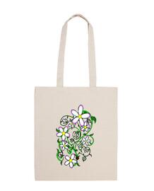 Flores creciendo bolsa de tela