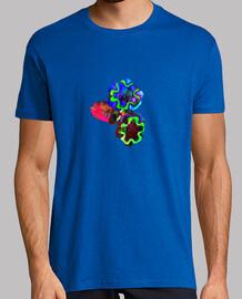 Flores de colores, Hombre, manga corta, azul royal, calidad extra