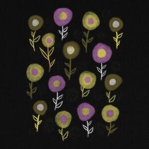 flores geométricas patrón floral oscuro T-shirts