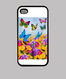 Flores, girasoles y mariposas. Colores vivos