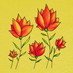 Tee-shirts flores naranjas primavera acuarela