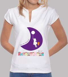 Fly me to the moon - Volemos hacia la Luna Mujer, cuello mao, blanca