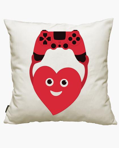 Fodera cuscino cuore gamer con gamepad