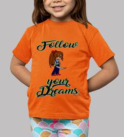follow vos rêves - garçon court - orange , manches longues
