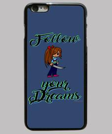follow vos rêves -gaine iphone 6, noir