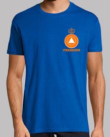 Formant la protection civile d'orange sur fond bleu