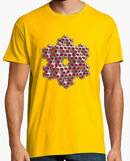 Camiseta Fractal copo de nieve cúbico