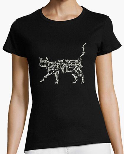 Camiseta Fractal. Gato blanco.