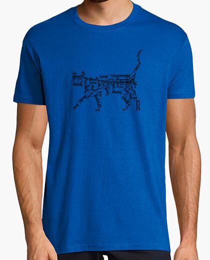 Camiseta Fractal. Gato negro.