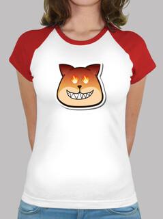 Frauen, Baseball T-Shirt, weiß-rot