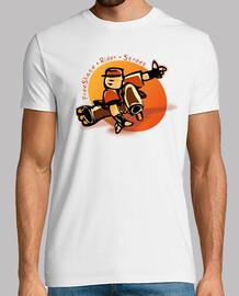 FreeRaider Skater Patinador de FreeSkate. Diseño naranja. Hombre, manga corta, blanco, calidad extra