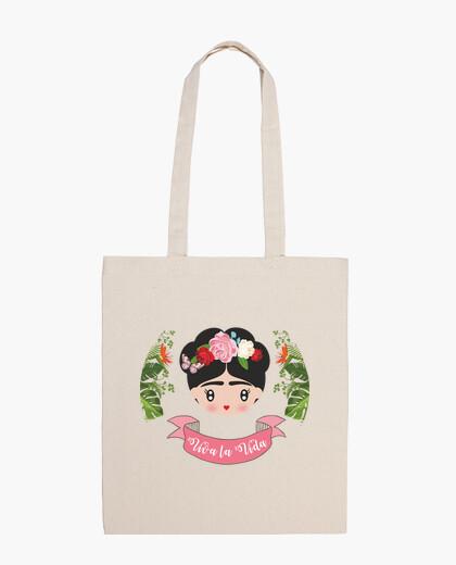 Frida - live life. cotton fabric bag 100