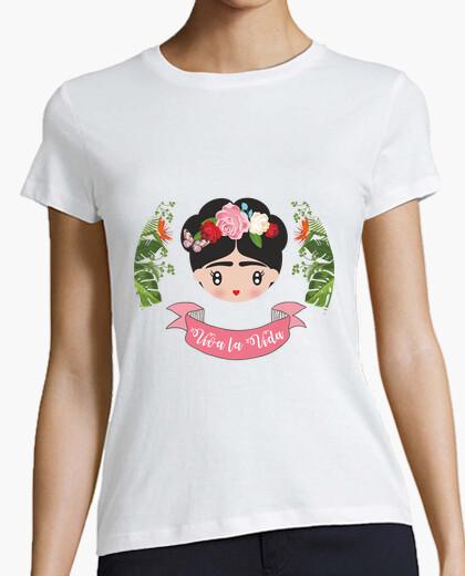Tee-shirt frida - vivre la vie. femmes, manches courtes, blanc, qualité supérieure