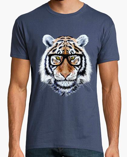 T-shirt fronte della tigre con gli occhiali