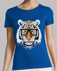 fronte della tigre con gli occhiali