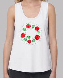 Frutos rojos del huerto Mujer, tirantes anchos & Loose Fit, blanca
