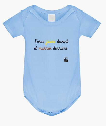 Ropa infantil fuerte frente amarillo y marrón detrás