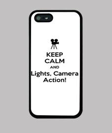 Funda de Iphone 5 Keep Calm And Lights, Camera, Action!
