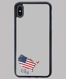 FUNDA EEUU IPHONE XS MAX MAPA 3D BANDERA NOMBRE