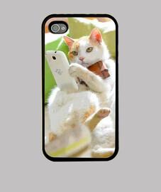 Funda Gato con Celular (iPhone 4)
