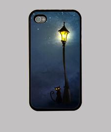 Funda iPhone 4/4s Cat on night