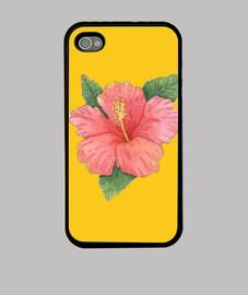 Funda iPhone 4, amarilla con flores