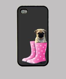 Funda iPhone 4, carlino y botas de agua rosa