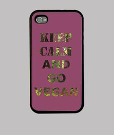 Funda iPhone 4, Keep calm and Go vegan